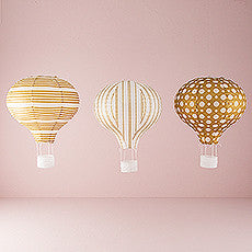 HOT AIR BALLOON PAPER LANTERN SET IN GOLD AND WHITE (3/pkg) - AyaZay Wedding Shoppe