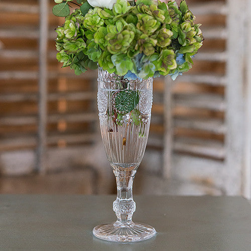 VINTAGE INSPIRED PRESSED GLASS FLUTE IN CLEAR - AyaZay Wedding Shoppe