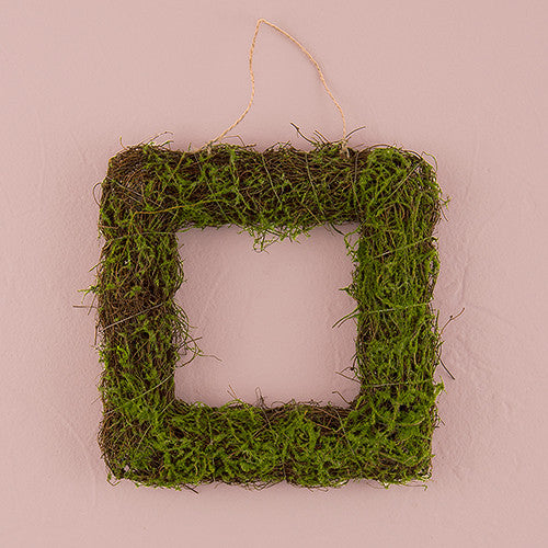 FAUX MOSS AND WICKER SQUARE FRAME - SMALL - AyaZay Wedding Shoppe