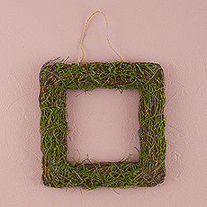 FAUX MOSS AND WICKER SQUARE FRAME - MEDIUM - AyaZay Wedding Shoppe
