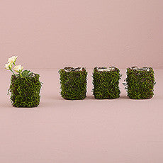FAUX MOSS AND WICKER MINI FAVOUR PLANTER WITH LINER (4/pkg) - AyaZay Wedding Shoppe