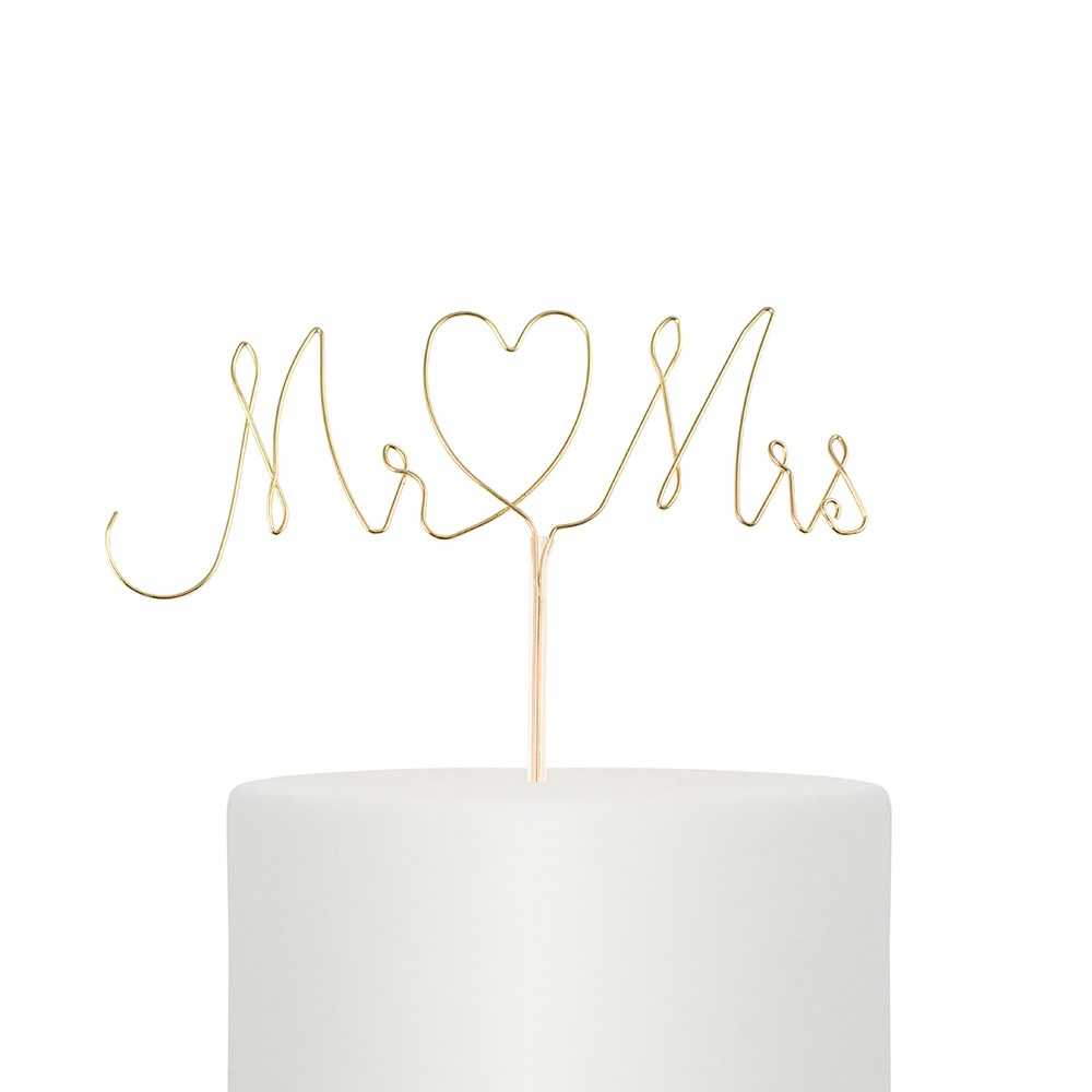 MR. AND MRS. TWISTED WIRE CAKE TOPPER