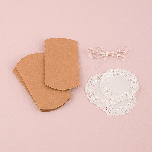 DIY KRAFT PILLOW BOX FAVOR WRAPPING KIT - AyaZay Wedding Shoppe