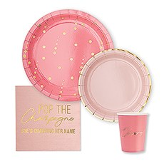 DISPOSABLE PAPER TABLEWARE SET POP THE CHAMPAGNE (SERVES 24)