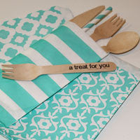 Silverware Bags - Aqua/Turquoise Sailor Stripe (20/pkg) - AyaZay Wedding Shoppe