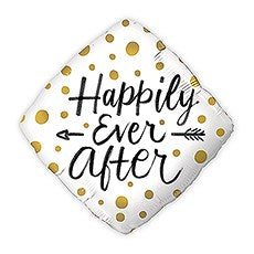 MYLAR FOIL HELIUM PARTY BALLOON WEDDING DECORATION - GOLD POLKA DOT HAPPILY EVER AFTER - AyaZay Wedding Shoppe