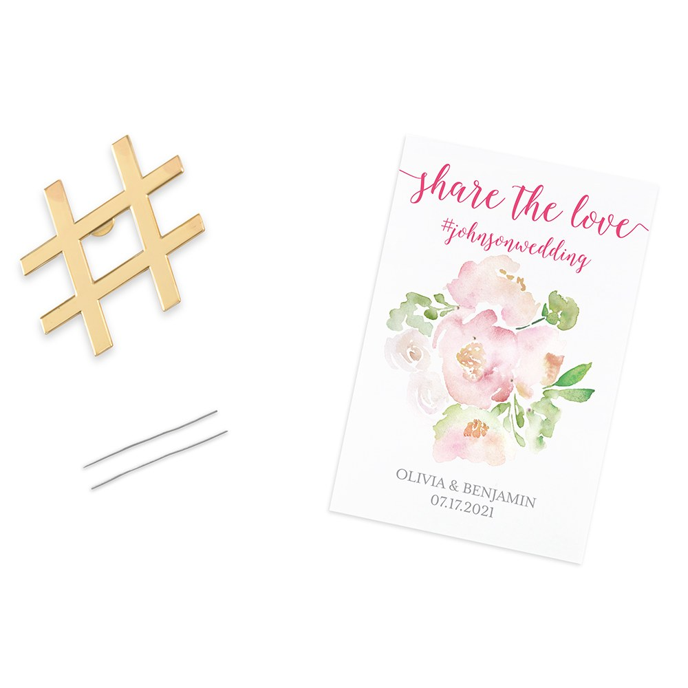 GOLD HASHTAG BOTTLE OPENER FAVOUR - SHARE THE LOVE