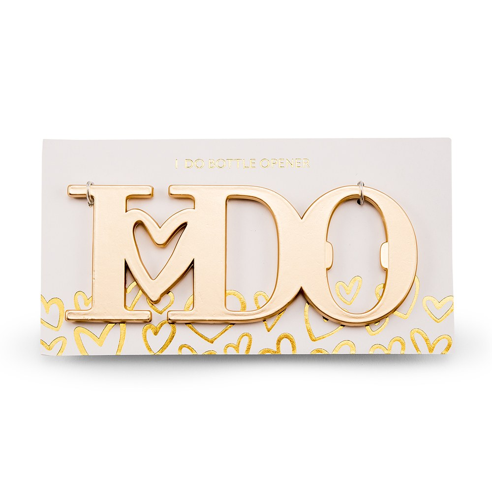 "GOLD ""I DO"" BOTTLE OPENER FAVOUR"