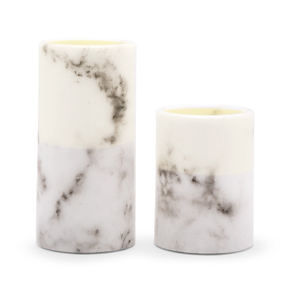 WHITE MARBLE ARTIFICIAL FLAMELESS LED PILLAR CANDLE - SET OF 2