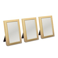 MINI EASEL BACK PHOTO FRAME 3 PIECE SET - GOLD OR SILVER