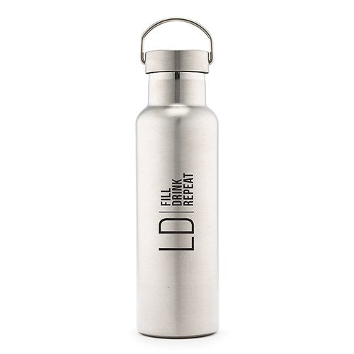 PERSONALIZED CHROME WATER BOTTLE WITH HANDLE - MODERN LOGO PRINT - AyaZay Wedding Shoppe