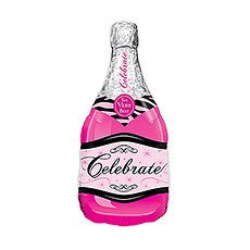 MYLAR FOIL HELIUM PARTY BALLOON DECORATION - MAGENTA PINK CHAMPAGNE BOTTLE - AyaZay Wedding Shoppe