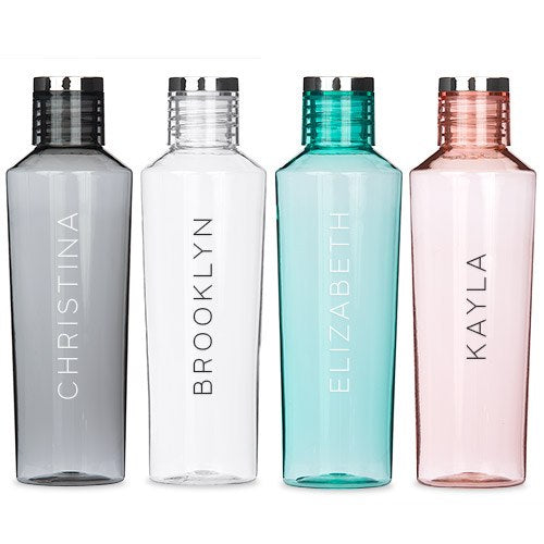 PERSONALIZED PLASTIC WATER BOTTLE - CONTEMPORARY VERTICAL LINE (4 COLOURS) - AyaZay Wedding Shoppe