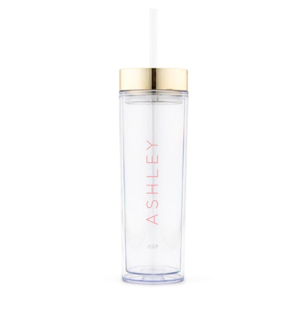GOLD PERSONALIZED PLASTIC DRINK TUMBLER - CONTEMPORARY VERTICAL LINE PRINTING