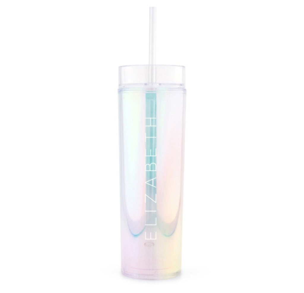 IRIDESCENT PERSONALIZED PLASTIC DRINK TUMBLER - CONTEMPORARY VERTICAL LINE PRINTING