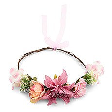 BRIDAL PARTY FLOWER CROWN WREATH - LIGHT PINK DAHLIA MEDLEY