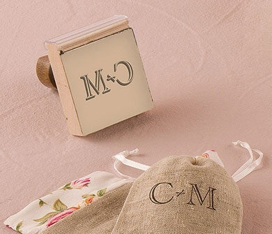 BURLAP CHIC MONOGRAM PERSONALIZED RUBBER STAMP - AyaZay Wedding Shoppe