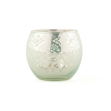 LARGE GLASS GLOBE VOTIVE HOLDER WITH REFLECTIVE LACE PATTERN (4/pkg) - available in 4 colours - AyaZay Wedding Shoppe