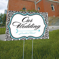 LOVE BIRD DAMASK WEDDING DIRECTIONAL SIGN - AyaZay Wedding Shoppe