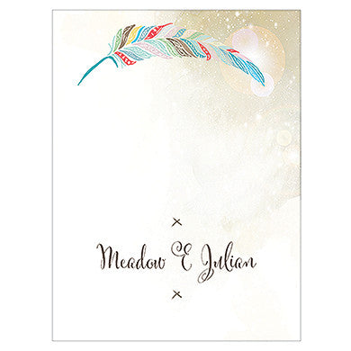 FEATHER WHIMSY PLACE CARD WITH FOLD - AyaZay Wedding Shoppe