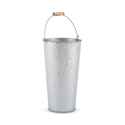 GALVANIZED FLOWER MARKET BUCKET WITH HANDLE - LARGE - AyaZay Wedding Shoppe