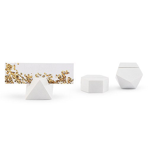 WHITE GEOMETRIC CARD HOLDER (6/pkg) - AyaZay Wedding Shoppe