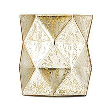 GOLD GEOMETRIC MERCURY GLASS HURRICANE VASE - AyaZay Wedding Shoppe