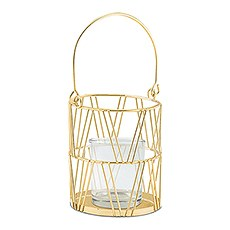 GOLD GEOMETRIC CANDLE LANTERN (2/pkg) - AyaZay Wedding Shoppe