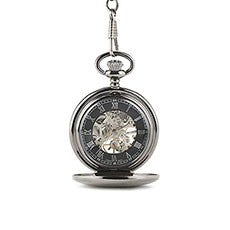 GUNMETAL MECHANICAL POCKET WATCH - AyaZay Wedding Shoppe