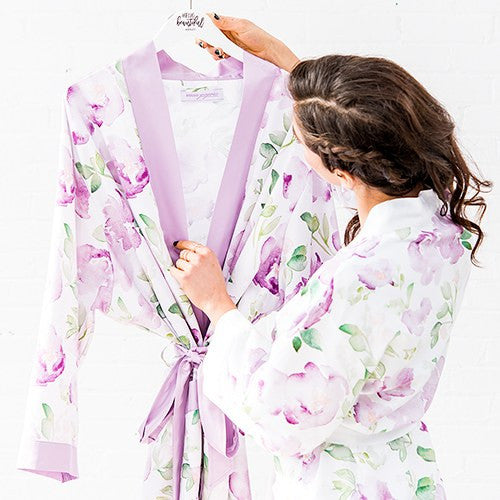 LAVENDER WATERCOLOR FLORAL SILKY KIMONO ROBE ON LAVENDER - AyaZay Wedding Shoppe