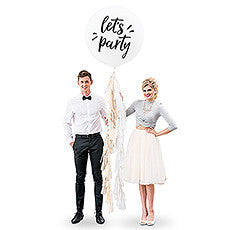 "36"" JUMBO WHITE ROUND WEDDING BALLOON - ""Let's Party"" - AyaZay Wedding Shoppe"