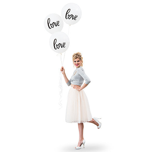 "17"" LARGE WHITE ROUND WEDDING BALLOONS - ""LOVE"" (3/pkg) - AyaZay Wedding Shoppe"