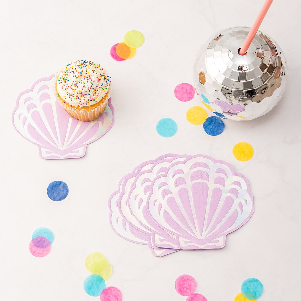 MERMAID SEASHELL PAPER PARTY NAPKINS - SET OF 20
