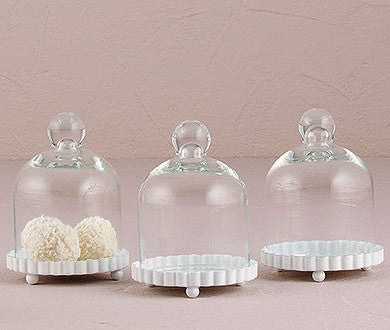 MINIATURE GLASS BELL JAR WITH WHITE FLUTED BASE (4/pkg) - AyaZay Wedding Shoppe