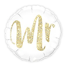 MYLAR FOIL HELIUM PARTY BALLOON WEDDING DECORATION - WHITE WITH GOLD MR. GLITTER - AyaZay Wedding Shoppe