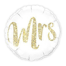 MYLAR FOIL HELIUM PARTY BALLOON WEDDING DECORATION - WHITE WITH GOLD MRS. GLITTER - AyaZay Wedding Shoppe