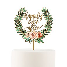 NATURAL WOOD FULL COLOUR CAKE TOPPER - FLORAL HAPPILY EVER AFTER