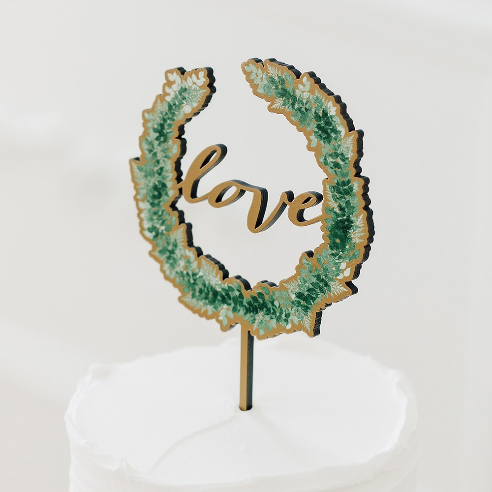 NATURAL WOOD FULL COLOUR CAKE TOPPER - LOVE WREATH