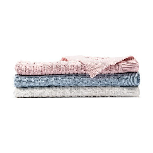 PERSONALIZED COTTON CABLE KNIT BABY BLANKET - MONOGRAM (pink/blue/white) - AyaZay Wedding Shoppe