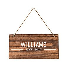 SMALL PERSONALIZED WOODEN WEDDING SIGN - NATURAL - BISTRO PRINT - AyaZay Wedding Shoppe