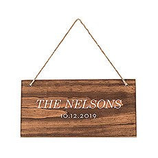 SMALL PERSONALIZED WOODEN WEDDING SIGN - NATURAL - CLASSIC PRINT - AyaZay Wedding Shoppe