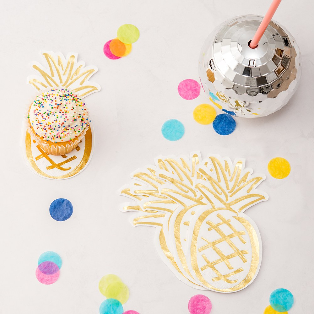 TROPICAL PINEAPPLE PAPER PARTY NAPKINS - SET OF 20