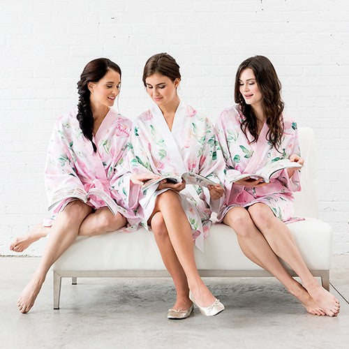 PINK WATERCOLOR FLORAL SILKY KIMONO ROBE ON WHITE - AyaZay Wedding Shoppe