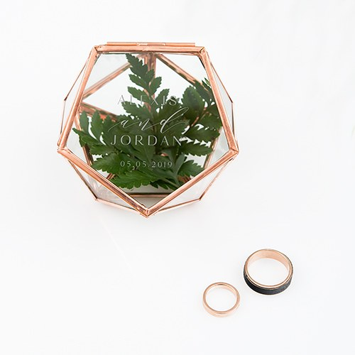 SMALL GLASS GEOMETRIC TERRARIUM STYLE RING BOX - MODERN COUPLE ETCHING - AyaZay Wedding Shoppe