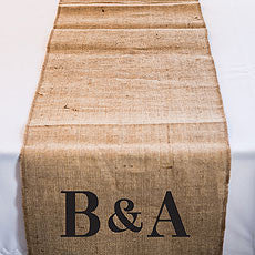 PERSONALIZED LONG BURLAP TABLE RUNNER WITH EQUESTRIAN MONOGRAM - AyaZay Wedding Shoppe