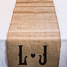 PERSONALIZED LONG BURLAP TABLE RUNNER WITH VINEYARD MONGRAM - AyaZay Wedding Shoppe