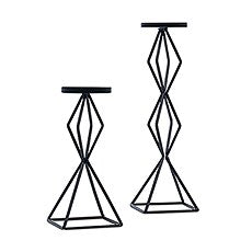 BLACK GEO PILLAR CANDLE HOLDER - SET OF 2