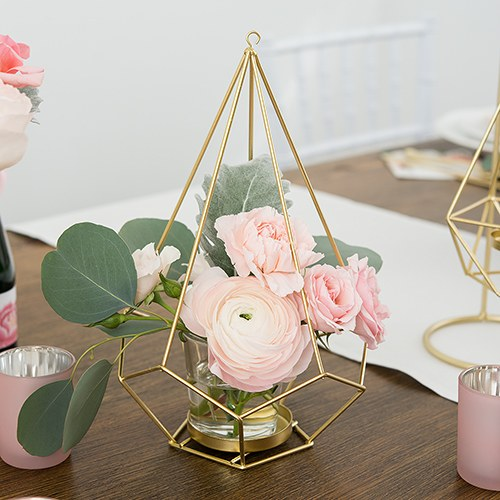 TALL GOLD GEOMETRIC CANDLE OR FLOWER CENTERPIECE (2/pkg) - AyaZay Wedding Shoppe