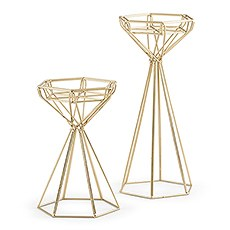 TALL GOLD GEOMETRIC CANDLE HOLDER SET - AyaZay Wedding Shoppe