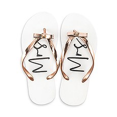 WOMEN'S WHITE & ROSE GOLD FLIP FLOPS WITH BOW - MRS